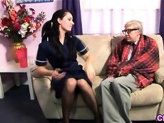 euro fetish nurse strokes old cock
