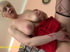 nasty housewife playing with her glass dildo