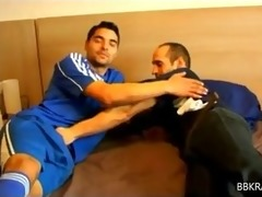 sexy hung hairy lad in footie gear gets sucked