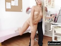 old doctor checks young blonde beauty venus pussy