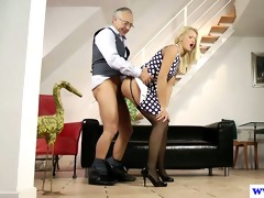 youthful euro whore plays with old mans dick