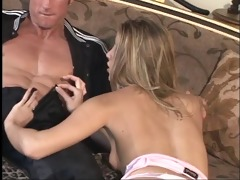 golden-haired let&s an aged man taste her wet