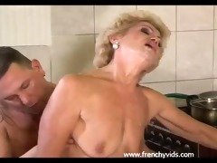 old slut fucks with a young lad