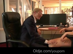 juvenile slutty maid copulates her old boss to