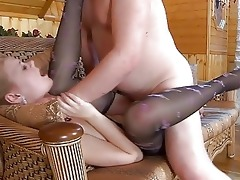 young blonde in hose gets slammed by aged daddy