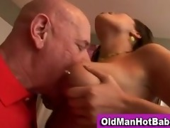 old lad oral-job by hot younger babe