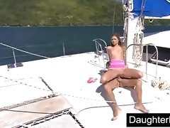 teen daughter screwed hard on boat