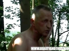 breasty unshaved girl drilled by an old guy