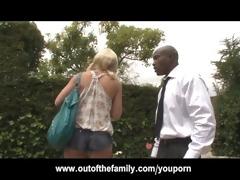 recent black stepdad punishes blonde daughter for
