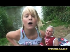 grand-dad receives lucky with babe