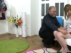 sveta kneels to receive her mature mans cum all