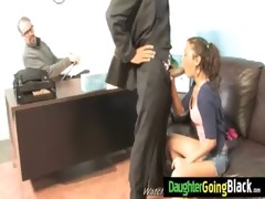 constricted youthful teen takes large darksome