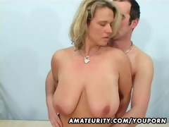 breasty amateur wife sucks and bonks with facial