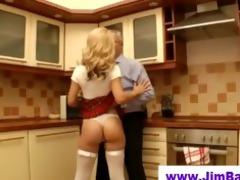 old dude copulates blonde in short petticoat