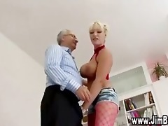 breasty blonde in nylons receives off