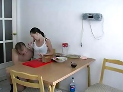 russian girl suck and fuck with dad for breakfast