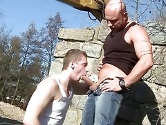 big daddy fucks lad in the ass outdoor public